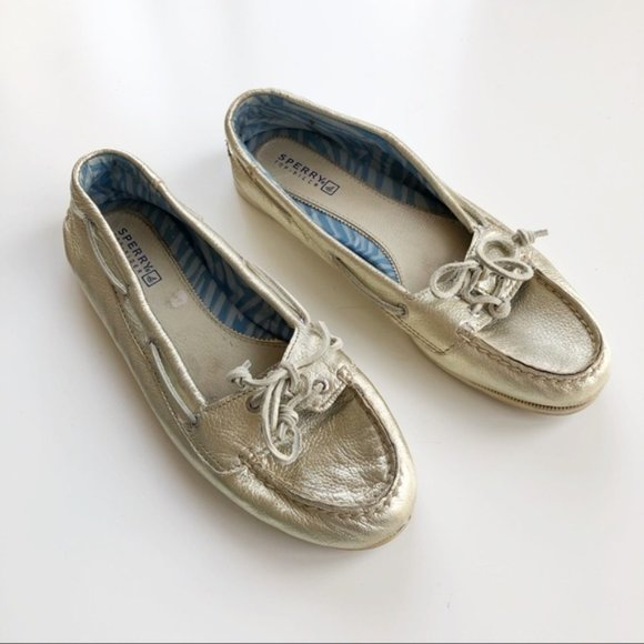 Sperry Angelfish Gold Metallic Leather Boat Shoes